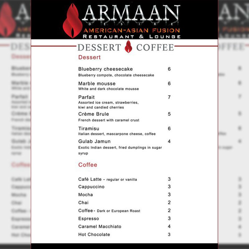 Dessert Coffee Menu